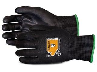 Guantes Superior Glove TenActiv Composite de fibra resistentes al corte de punto con palmas Negras de PU