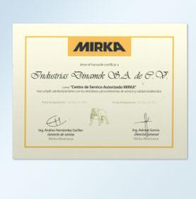 Estamos certificados como Centro de Servicio Autorizado Mirka